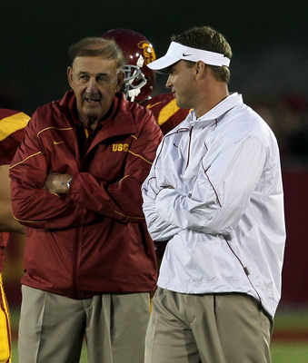 USC Assistant Head Coach Monte Kiffin and Head Coach Lane Kiffin