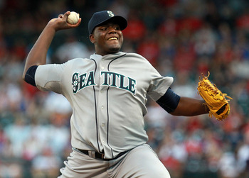 ARLINGTON, TX - AUGUST 09:  Michael Pineda #36 of the Seattle Mariners throws against the Texas Rangers at Rangers Ballpark in Arlington on August 9, 2011 in Arlington, Texas.  (Photo by Ronald Martinez/Getty Images)