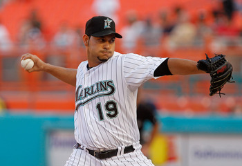 MIAMI GARDENS, FL - AUGUST 05:  Anibal Sanchez #19 of the Florida Marlins pitches during a game against the St. Louis Cardinals at Sun Life Stadium on August 5, 2011 in Miami Gardens, Florida.  (Photo by Mike Ehrmann/Getty Images)