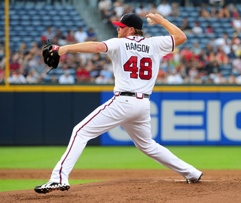 ATLANTA - JULY 26: Tommy Hanson #48 of the Atlanta Braves pitches against the Pittsburgh Pirates at Turner Field on July 26, 2011 in Atlanta, Georgia. (Photo by Scott Cunningham/Getty Images)