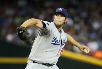 PHOENIX, AZ - AUGUST 07:  Starting pitcher Clayton Kershaw #22 of the Los Angeles Dodgers pitches against the Arizona Diamondbacks during the Major League Baseball game at Chase Field on August 7, 2011 in Phoenix, Arizona. The Diamondbacks defeated the Do