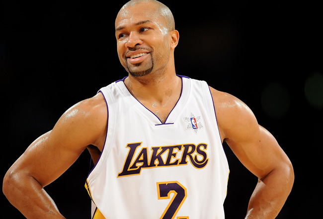 LOS ANGELES, CA - DECEMBER 25:  Derek Fisher #2 of the Los Angeles Lakers looks on during the game against the Cleveland Cavaliers at Staples Center on December 25, 2009 in Los Angeles, California. NOTE TO USER: User expressly acknowledges and agrees that