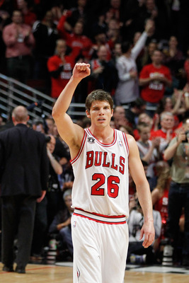 CHICAGO, IL - MAY 15: Kyle Korver #26 of the Chicago Bulls celebrates against the Miami Heat in Game One of the Eastern Conference Finals during the 2011 NBA Playoffs on May 15, 2011 at the United Center in Chicago, Illinois. NOTE TO USER: User expressly