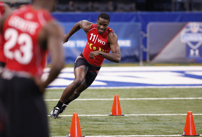 INDIANAPOLIS, IN - FEBRUARY 27: Wide receiver A.J. Green of Georgia runs through a drill during the 2011 NFL Scouting Combine at Lucas Oil Stadium on February 27, 2011 in Indianapolis, Indiana. (Photo by Joe Robbins/Getty Images)