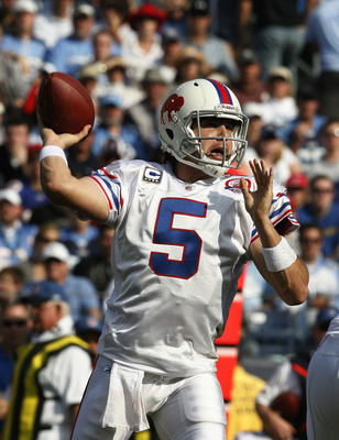 NASHVILLE, TN - NOVEMBER 15:  Quarterback Trent Edwards #5 of the Buffalo Bills throws against the Tennessee Titans in their NFL game at LP Field on November 15, 2009 in Nashville, Tennessee.    (Photo by John Sommers II/Getty Images)