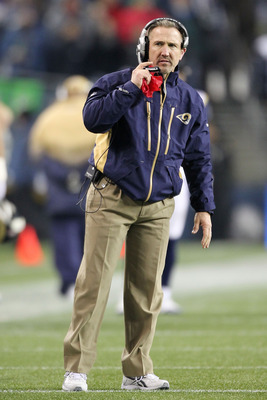 SEATTLE, WA - JANUARY 02:  Head coach Steve Spagnuolo of the St. Louis Rams stands on the field during their game against the Seattle Seahawks at Qwest Field on January 2, 2011 in Seattle, Washington.  (Photo by Otto Greule Jr/Getty Images)