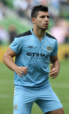 DUBLIN, IRELAND - JULY 31:  Sergio Aguero of Manchester City warms up prior to the Dublin Super Cup match between Inter Milan and Manchester City at the Aviva Stadium on July 31, 2011 in Dublin, Ireland.  (Photo by David Rogers/Getty Images)