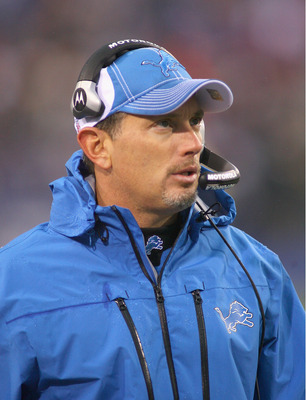 ORCHARD PARK, NY - NOVEMBER 14:  Head coach Jim Schwartz of the Detroit Lions stands on the sidelines against the Buffalo Bills at Ralph Wilson Stadium on November 14, 2010 in Orchard Park, New York. The Bills won 14-12.  (Photo by Rick Stewart/Getty Imag