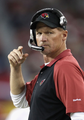 GLENDALE, AZ - DECEMBER 12:  Head coach  Ken Whisenhunt of the Arizona Cardinals watches from the sidelines during the NFL game against the Denver Broncos at the University of Phoenix Stadium on December 12, 2010 in Glendale, Arizona. The Cardinals defeat