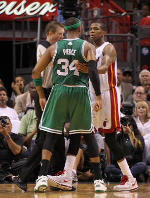 MIAMI, FL - MAY 01:  James Jones #22 of the Miami Heat scuffles with Paul Pierce #34 of the Boston Celtics resulting in a technical foul during Game One of the Eastern Conference Semifinals of the 2011 NBA Playoffs at American Airlines Arena on May 1, 201