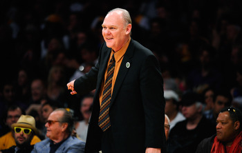 LOS ANGELES, CA - APRIL 03:  Coach George Karl of the Denver Nuggets argues a call by referee Ron Garretson during the game against the Los Angeles Lakers at Staples Center on April 3, 2011 in Los Angeles, California. NOTE TO USER: User expressly acknowle