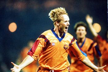 May 1992:  Ronald Koeman celebrates after scoring for Barcelona during the European Cup Final between Barcelona v Sampdoria. Barcelona won 1-0. Mandatory Credit: David Cannon/Getty Images