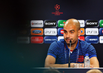 LONDON, ENGLAND - MAY 27:  In this UEFA handout image Coach Josep Guardiola speaks during the FC Barcelona press conference ahead of the UEFA Champions League Final against Manchester United at Wembley Stadium on May 27, 2011 in London, England.  (Photo b
