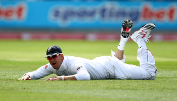 BIRMINGHAM, ENGLAND - AUGUST 10:  Kevin Pietersen of England dives to stop the ball during day one of the 3rd npower Test at Edgbaston on August 10, 2011 in Birmingham, England. (Photo by Richard Heathcote/Getty Images)