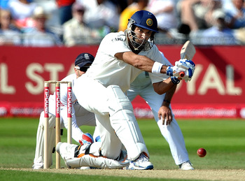 NOTTINGHAM, ENGLAND - JULY 30: Yuvraj Singh of India sweeps the ball to the boundary during the second npower Test match between England and India at Trent Bridge on July 30, 2011 in Nottingham, England.  (Photo by Laurence Griffiths/Getty Images)