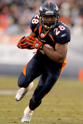 DENVER, CO - JANUARY 2:  Running back Correll Buckhalter #28 of the Denver Broncos runs for extra yardage following a reception in the third quarter against the San Diego Chargers at INVESCO Field at Mile High on January 2, 2011 in Denver, Colorado. (Phot