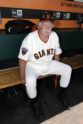 SAN FRANCISCO, CA - JUNE 11: San Francisco Giants Legend Gaylord Perry looks on from the dugout on San Francisco Giants Legends day before an MLB baseball game between the Cincinnati Reds and the San Francisco Giants June 11, 2011 at AT&T Park in San Fran