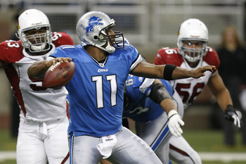 DETROIT - DECEMBER 20: Daunte Culpepper #11 of the Detroit Lions thows a first quarter pass in front of Calais Campbell #93 of the Arizona Cardinals on December 20, 2009 at Ford Field in Detroit, Michigan.  (Photo by Gregory Shamus/Getty Images)