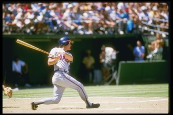 Third baseman Graig Nettles of the Atlanta Braves swings the bat.