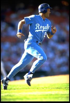 KANSAS CITY ROYALS THIRD BASEMAN GEORGE BRETT RUNS TO FIRST BASE AFTER MAKING CONTACT WITH A PITCH DURING THE ROYALS VERSUS OAKLAND A''S GAME AT OAKLAND COLISEUM IN OAKLAND, CALIFORNIA. MANDATORY CREDIT: OTTO GREULE/ALLSPOR