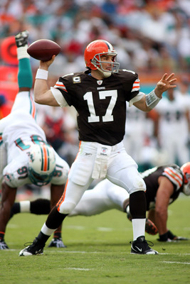 MIAMI - DECEMBER 05:  Quarterback Jake Delhomme #17 of the Cleveland Browns passes against the Miami Dolphins at Sun Life Stadium on December 5, 2010 in Miami, Florida.  (Photo by Marc Serota/Getty Images)
