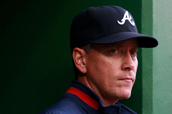 WASHINGTON - APRIL 30:  Pitcher Tom Glavine #47 of the Atlanta Braves watches his team take on the Washington Nationals at Nationals Park on April 30, 2008 in Washington, D.C. The Nationals defeated the Braves 3-2 in 12 innnings.  (Photo by Doug Benc/Gett