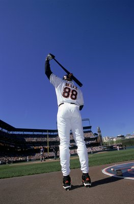 30 Apr 2000:  Albert Belle #88 of the Baltimore Orioles at bat during the game against the Texas Rangers at Camden Yards in Baltimore, Maryland. The Rangers defeated the Orioles 8-4. Mandatory Credit: Doug Pensinger  /Allsport