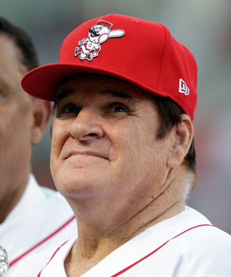 CINCINNATI - SEPTEMBER 11:  Pete Rose takes in the ceremony celebrating the 25th anniversary of his breaking the career hit record of 4,191 . He was honored before the start of the game between the Pittsburg Pirates and the Cincinnati Reds at Great Americ