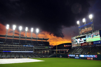 CLEVELAND, OH - AUGUST 9: The sun sets over Progressive Field  during a rain delay in the second inning of the game between the Cleveland Indians and the Detroit Tigers on August 9, 2011 in Cleveland, Ohio. (Photo by Jason Miller/Getty Images)