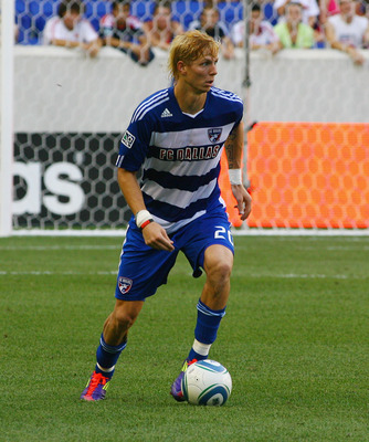 HARRISON, NJ - JULY 23: Brek Shea #20 of FC Dallas plays the ball against the New York Red Bulls during the game at Red Bull Arena on July 23, 2011 in Harrison, New Jersey. (Photo by Andy Marlin/Getty Images)