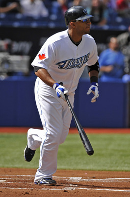 TORONTO - SEPTEMBER 23:   Vernon Wells #10 of the Toronto Blue Jays runs to first base during the game against the Seattle Mariners on September 23, 2010 at Rogers Centre in Toronto, Ontario, Canada. The Blue Jays defeated the Mariners 1-0. (Photo by Brad