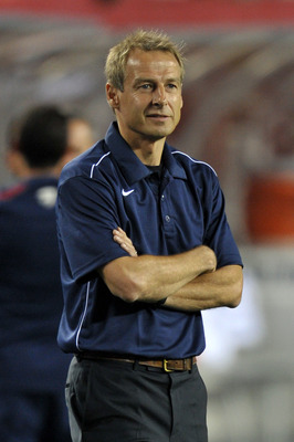 PHILADELPHIA, PA - AUGUST 10: Head coach Jurgen Klinsmann of the United States watches the team warmup before the game against Mexico at Lincoln Financial Field on August 10, 2011 in Philadelphia, Pennsylvania. (Photo by Drew Hallowell/Getty Images)