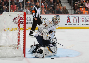 ANAHEIM, CA - APRIL 13:  Goaltender Pekka Rinne  #35 of the Nashville Predators makes a save against the Anaheim Ducks in the first period of Game One of the Western Conference Quarterfinals during the 2011 NHL Stanley Cup Playoffs at Honda Center on Apri