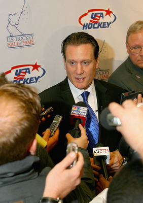 BUFFALO, NY - OCTOBER 21: Jeremy Roenick talks with media  during a media and greet at the 2010 USA Hockey Hall of Fame Inductions at HSBC Arena on October 21, 2010 in Buffalo, New York.  (Photo by Rick Stewart/Getty Images)