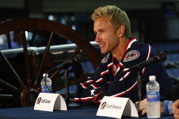 COLUMBUS,OH - JULY 21:  Jeff Carter #7 of the Columbus Blue Jackets speaks during a press conference on July 21, 2011 at Nationwide Arena in Columbus, Ohio.  (Photo by John Grieshop/Getty Images)