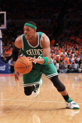 NEW YORK, NY - APRIL 24: Paul Pierce #34 of the Boston Celtics drives against the New York Knicks  in Game Four of the Eastern Conference Quarterfinals during the 2011 NBA Playoffs on April 24, 2011 at Madison Square Garden in New York City. NOTE TO USER: