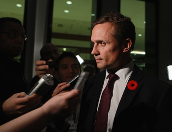 TORONTO, ON - NOVEMBER 08: Tampe Bay Lightning GM Steve Yzerman  walks the red carpet prior to the Hockey Hall of Fame induction ceremony at the Hockey Hall of Fame on November 8, 2010 in Toronto, Canada.  (Photo by Bruce Bennett/Getty Images)