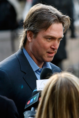MONTREAL, CANADA - NOVEMBER 29:  Former Montreal Canadiens goalie Patrick Roy gives an interview to the media prior to the memorial service for former NHL coach Pat Burns at the Mary, Queen of the World Cathedral on November 29, 2010 in Montreal, Quebec,