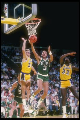 Oct 1985:  Guard Dennis Johnson of the Boston Celtics goes up for the ball during a game against the Los Angeles Lakers at the Great Western Forum in Inglewood, California. Mandatory Credit: Rick Stewart  /Allsport