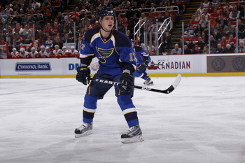 DETROIT, MI - MARCH 30:  Vladimir Sobotka #17 of the St. Louis Blues skates against the Detroit Red Wings at Joe Louis Arena on March 30, 2011 in Detroit, Michigan.  (Photo by Gregory Shamus/Getty Images)