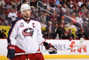 GLENDALE, AZ - MARCH 24:  Rick Nash #61 of the Columbus Blue Jackets during the NHL game against the Phoenix Coyotes at Jobing.com Arena on March 24, 2011 in Glendale, Arizona.  The Coyotes defeated the Blue Jackets 3-0.  (Photo by Christian Petersen/Gett