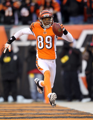 CINCINNATI - DECEMBER 26:  Jerome Simpson #89 of the Cincinnati Bengals celebrates after catching a touchdown pass during the NFL game against the San Diego Chargers at Paul Brown Stadium on December 26, 2010 in Cincinnati, Ohio. The Bengals 34-20.  (Phot