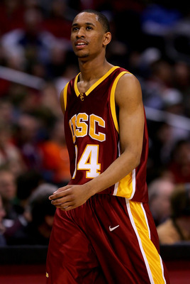 LOS ANGELES, CA - MARCH 09:  Gabriel Pruitt #34 of the USC Trojans walks across the court in the second half of the game against the California Golden Bears during the quarterfinals of the 2006 Pacific Life Pac-10 Men's Basketball Tournament on March 9, 2