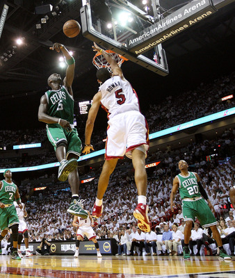 MIAMI, FL - MAY 11:  Kevin Garnett #5 of the Boston Celtics blocks a shot from Juwan Howard #5 of the Miami Heat during Game Five of the Eastern Conference Semifinals of the 2011 NBA Playoffs at American Airlines Arena on May 11, 2011 in Miami, Florida. N