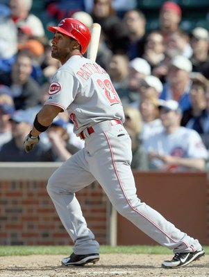 CHICAGO - APRIL 17: Corey Patterson #23 of the Cincinnati Reds swings at a pitch during the game against the Chicago Cubs on April 17, 2008 at Wrigley Field in Chicago, Illinois. The Reds defeated the Cubs 9-2. (Photo by Jonathan Daniel/Getty Images)