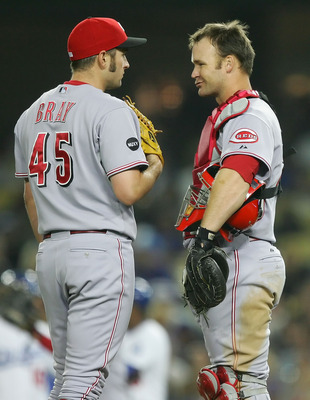 LOS ANGELES, CA - MAY 20:   Bill Bray #45 and teammate David Ross #26 of the Cincinnati Reds have a meeting on the mound during the game against the Los Angeles Dodgers at Dodger Stadium on May 20, 2008 in Los Angeles, California.  (Photo by Lisa Blumenfe