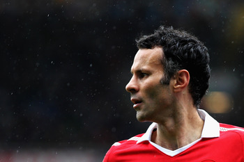 BLACKBURN, ENGLAND - MAY 14:  Ryan Giggs of Manchester United looks on during the Barclays Premier League match between Blackburn Rovers and Manchester United at Ewood park on May 14, 2011 in Blackburn, England.  (Photo by Dean Mouhtaropoulos/Getty Images