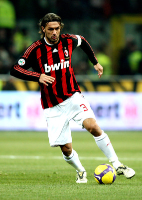 MILAN, ITALY - FEBRUARY 15: AC Milan Defender Paolo Maldini in action during FC Inter Milan v AC Milan - Serie A match on February 15, 2009 in Milan, Italy.  (Photo by Vittorio Zunino Celotto/Getty Images)