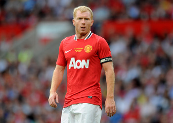 MANCHESTER, ENGLAND - AUGUST 05:  Paul Scholes of Manchester United looks on during his Testimonial Match between Manchester United and New York Cosmos at Old Trafford on August 5, 2011 in Manchester, England.  (Photo by Chris Brunskill/Getty Images)