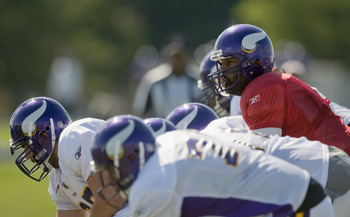 MANKATO, MN - AUGUST 4:  Donovan McNabb #5 of the Minnesota Vikings calls a play during training camp at Minnesota State University on August 4, 2011 in Mankato, Minnesota. (Photo by Hannah Foslien/Getty Images)